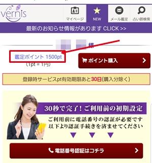 vernis 12 - 【画像付き】電話占いヴェルニの登録方法!ポイントは貰える?本当に無料?